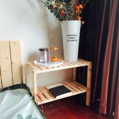 Kệ gỗ tab đầu giường 2 tầng tự lắp ráp Tâm House – gỗ thông tự nhiên