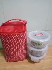 Bộ 3 hộp thủy tinh đựng cơm Lock&Lock tặng kèm túi giữ nhiệt