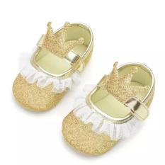 Giày tập đi công chúa lấp lánh đính vương miện phối ren đế chống trơn trượt cho bé gái 0-18 tháng tuổi BBShine – TD23