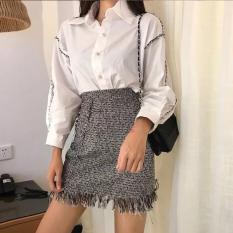 Chân váy dạ tua rua kẻ sọc, chân váy dạ,chân váy dài