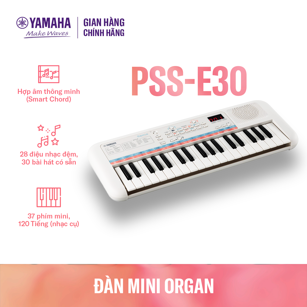 Đàn organ điện tử Yamaha cho trẻ em PSS-E30 – Bàn phím mini – 47 Tiếng nhạc – 28 Kiểu nhạc đệm – 74 Hiệu ứng âm thanh – Chế độ đố vui – Bảo hành chính hãng 12 tháng