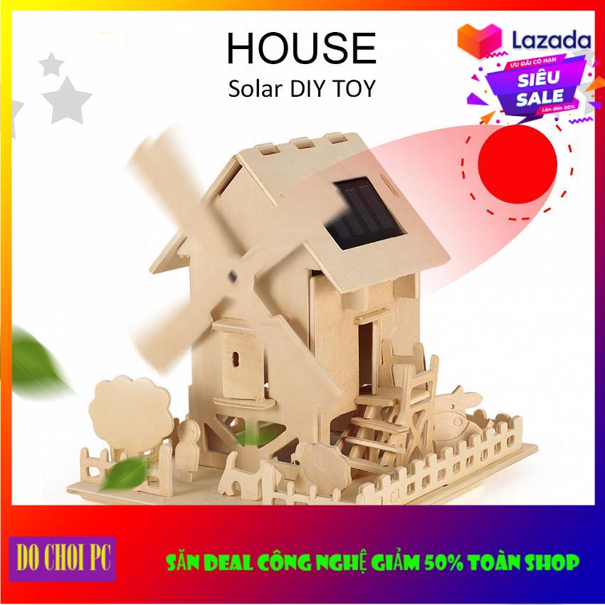 Đồ chơi lắp ráp gỗ 3D mô hình nhà gỗ năng lượng mặt trời