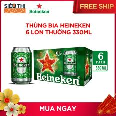 Thùng bia Heineken 6 lon thường 330ml