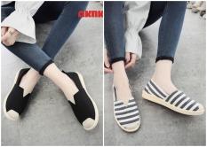 Giày nữ| Giày lười nữ vải cách điệu mũi giày cá tính- Giày slip on G9541