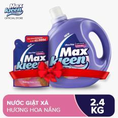 """Combo Nước giặt xả Maxkleen hương hoa nắng: """"1 Chai 2.4kg + 1 Túi 600g """""""