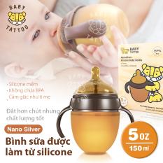 BABY TATTOO Bình Sữa Cầm Tay SIlicone Nano Bạc Kháng Khuẩn, Đầu Ti Mềm Dẻo Đàn Hồi Cao