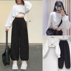 Set bộ quần jogger dây rút gấu mix áo crt chéo phong cách hàn quốc/ Set quần áo nữ dáng rộng thời trang unisex – xuongmaythaothuy