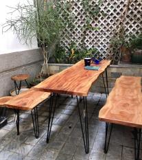 Bàn cà phê, bàn trà, bàn làm việc, bàn ăn gỗ xà cừ nguyên tấm dài 1m4 đến 1m6, dày 4cm, cao 70 cm