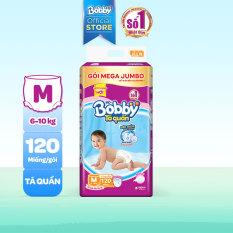 Tã/bỉm quần Bobby siêu thấm khô thoáng Mega Jumbo M120 (6-10kg)