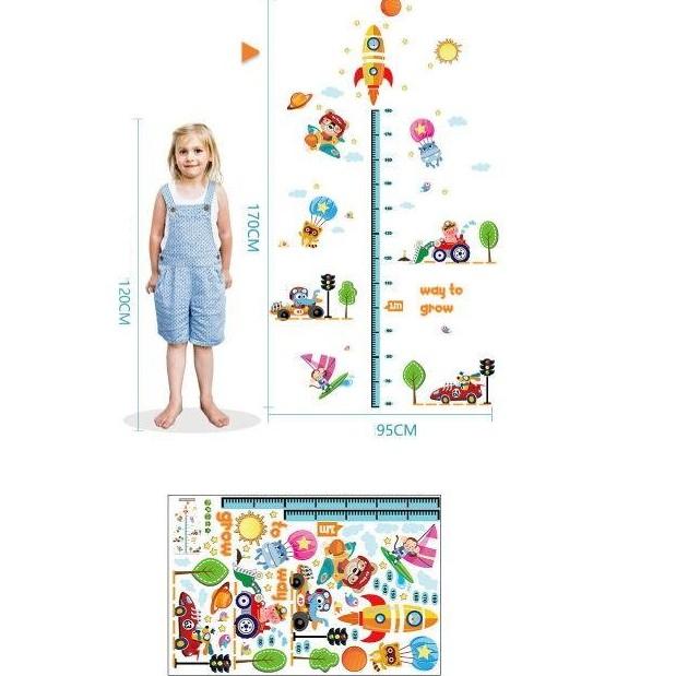 Decal dán tường đo chiều cao cho bé tranh giao thông cho bé, sản phẩm tốt, chất lượng cao, cam...