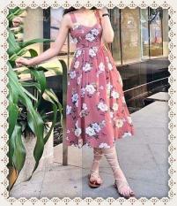Đầm Nữ Hoa Đan Lưng Có Mút Kèm Ảnh Tự Chụp