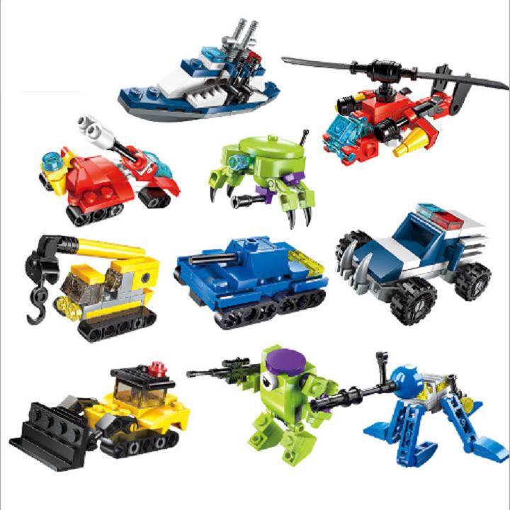 Combo 10 bộ lắp ráp kiểu lego mini – mô hình các phương tiện khác nhau