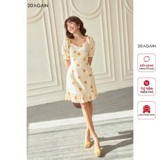 Váy xòe nữ, đầm xòe chấm bi thanh lịch 20AGAIN, hàng thiết kế, ngắn tay, cổ vuông hiện đại DEW1147