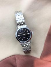 đồng hồ nữ halei dây bạc mặt đen HL3502