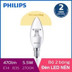 Bộ 2 Bóng đèn Philips LED Nến 5.5W 2700K E14 230V B35 (Ánh sáng vàng)