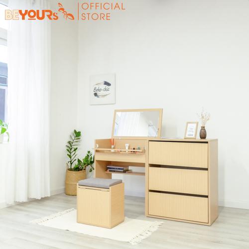 Bộ Bàn Tủ Trang Điểm BEYOURs Dambi Table Màu Gỗ tự Nhiên Nội Thất Lắp Ráp Phòng Ngủ