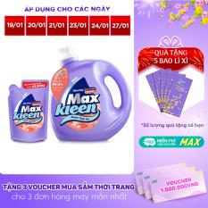 [FREESHIP 30K] Combo Nước Giặt Xả Maxkleen Hương Cam sả: 1 Chai 2.4kg + 1 Túi 600g