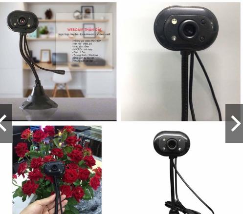 Webcam cổ cao có mic và đèn sắc nét dành cho học sinh online qua zoom