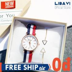 [TẶNG VÒNG TAY NGẪU NHIÊN] Đồng hồ nữ Geneva C36, mặt tròn, dây đeo vải 3 màu, chạy 3 kim, kháng nước, chống trầy xước nhẹ