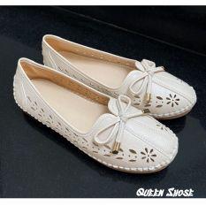 Giày lười nữ – giày bệt nữ đính nơ – giày búp bê nữ thiết kế đục lỗ hoa văn sang chảnh