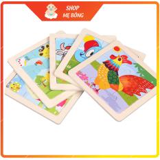 Tranh ghép gỗ 9 mảnh, đồ chơi xếp hình lắp ráp nhiều hình ngộ nghĩnh phát triển tư duy cho bé 3-7 tuổi