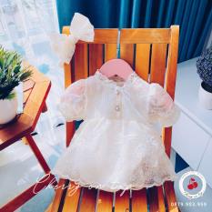 Váy Đầm Bé Gái, Set Váy Body Ren thêu hoa nổi 3D, Tặng kèm Turban xinh xắn 3-13kg, V03 – Cherry On Top