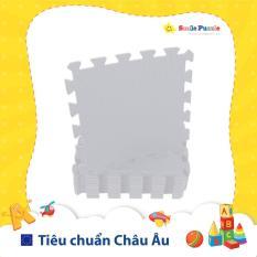 Thảm xốp cho bé – đơn màu Pastel Trắng Xám (10 miếng, Tổng kích thước 10 miếng 0.6mx1.5m) Smile Puzzle – KHÔNG MÙI CHUẨN CHÂU ÂU – Hàng Xuất Nhật
