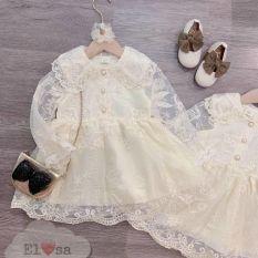 váy ren cao cấp cúc dải bé yêu