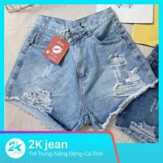 Quần short nữ jean rách từ size nhỏ 40kg đến size đại 70kg thời trang jean bigsize cao cấp 2KJean