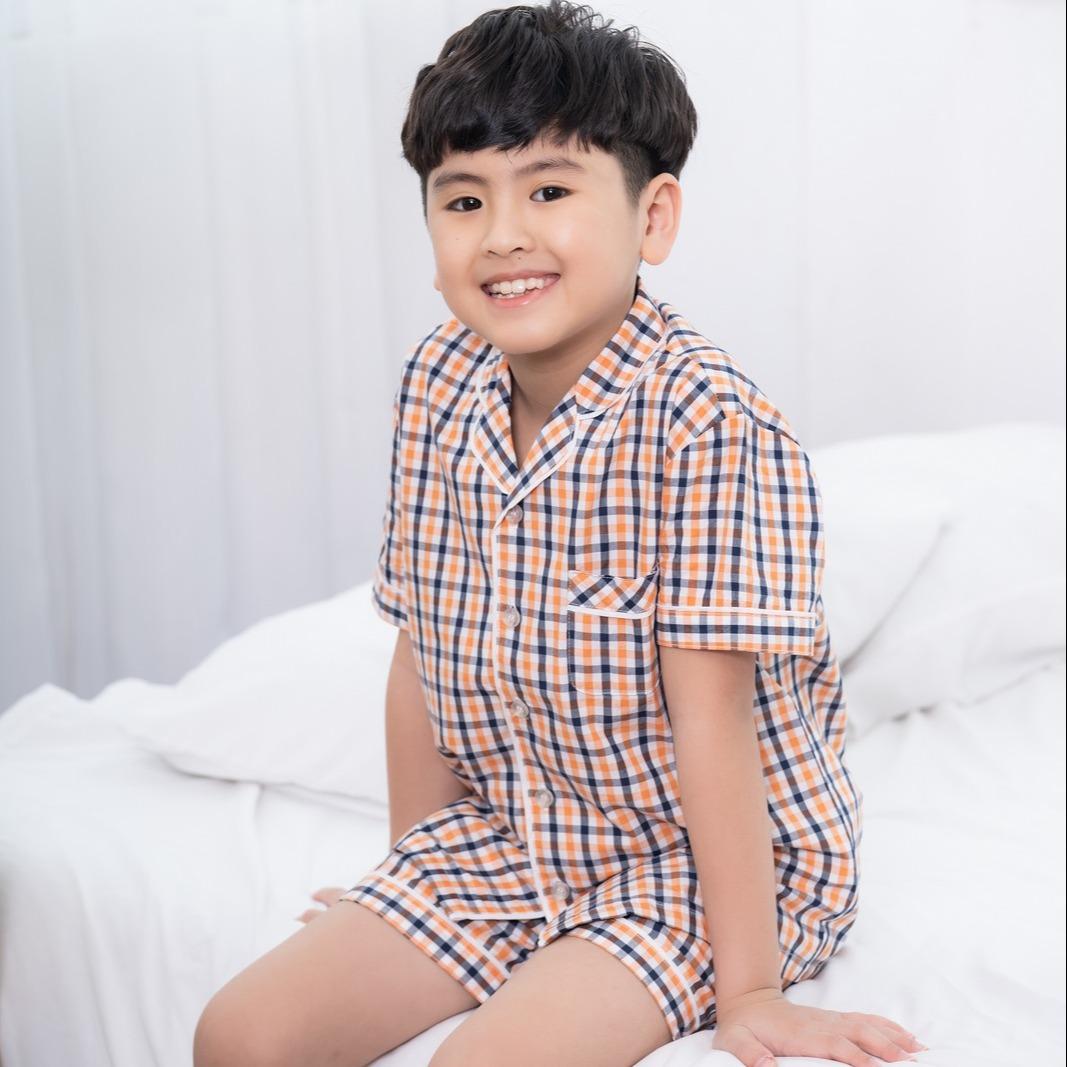 Bộ pijama cotton bé trai cộc tay Việt Thắng B63.2003 - Chất liệu mềm mại, thoải mái vận động