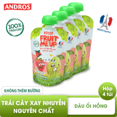 FRUIT ME UP – Trái cây xay nhuyễn nguyên chất – Dâu Ổi hồng – 90gx4