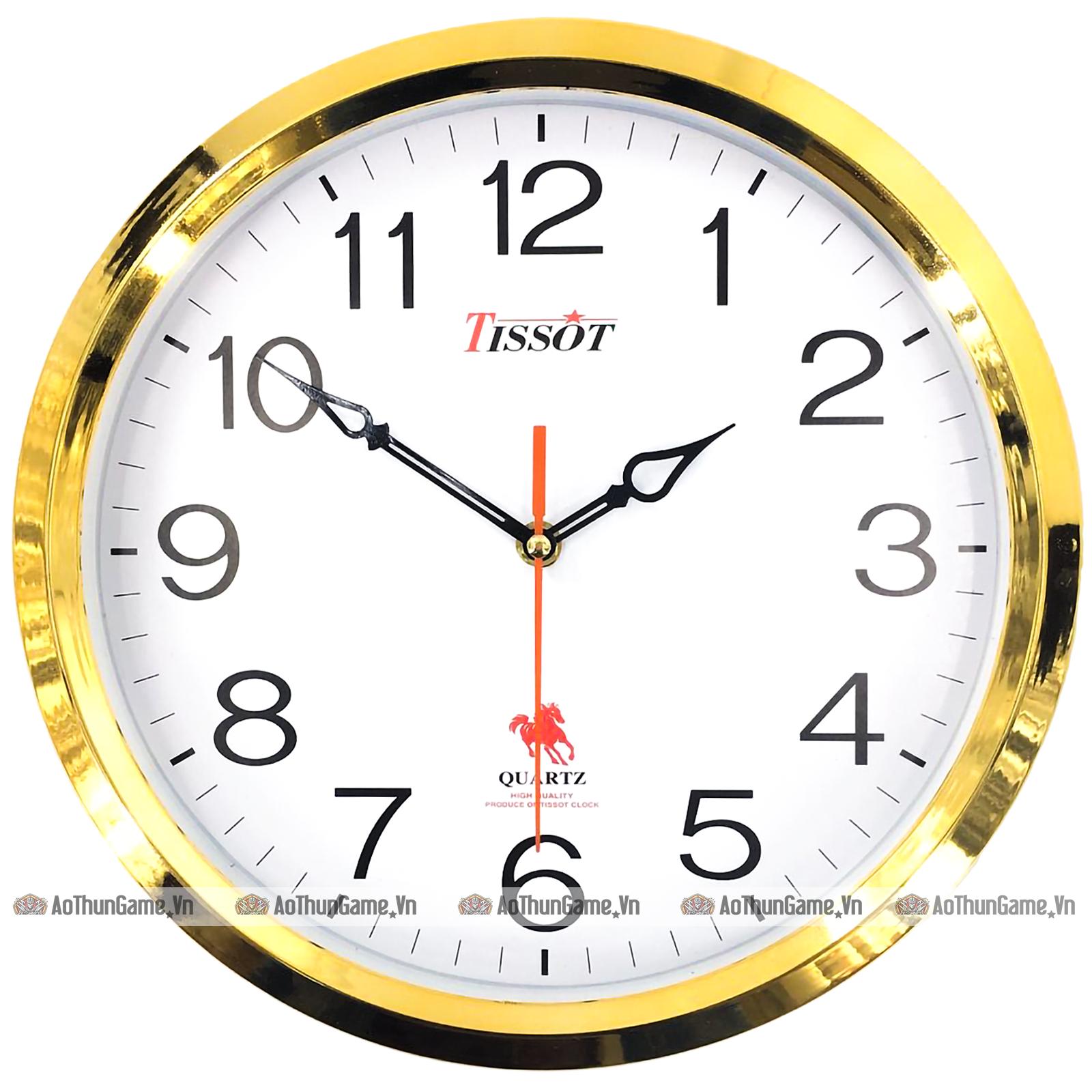 Đồng hồ treo tường Đẹp, màu vàng ánh kim sang trọng, kim giật theo giây