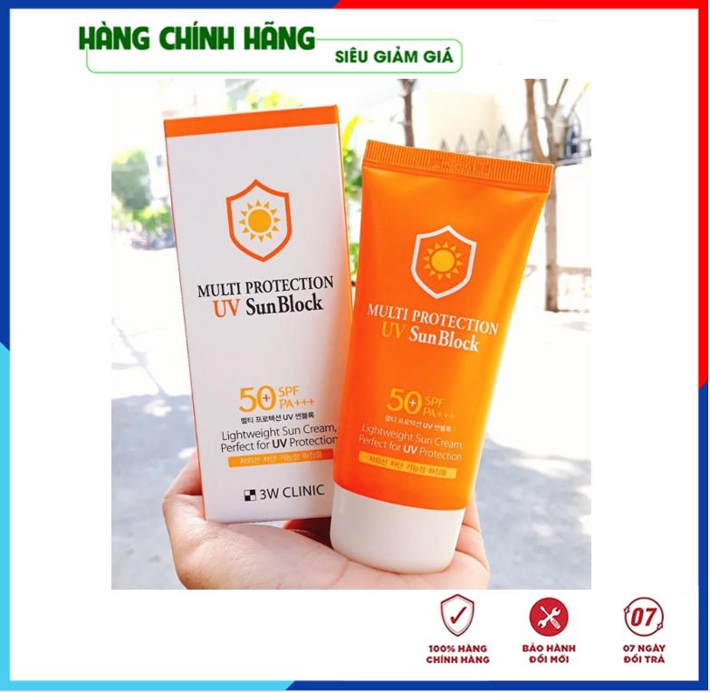 [Hàng Nhập Khẩu Hàn Quốc] Kem chống nắng Multi Protection UV Sun Block 3W Clinic Hàn Quốc 50+ SPF PA+++ 70ml