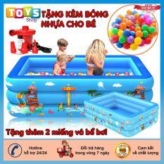 [Tặng Kèm Đồ Chơi] Bể bơi phao 3 tầng, bể bơi 1m2, bể bơi 1m3, bể bơi 1m5, bể bơi 1m6, bể bơi 1m8 bể bơi 2m1, bể bơi 2m6 chất liệu nhựa PVC an toàn với trẻ nhỏ, Tặng kèm 2 miếng vá kèm theo hồ bơi