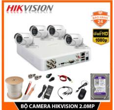 Trọn Bộ Camera Hikvision 2MP FHD 1080P – Hàng chính hãng – Đầy đủ phụ kiện + Ổ Cứng 500GB