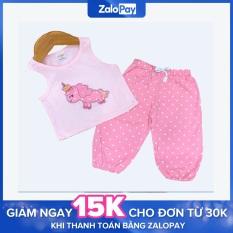 Bộ alibaba sát nách vải cotton thoáng mát họa tiết dễ thương cho bé gái từ 06 – 24kg [Midu] – Bộ ngố phong cách bé gái (Màu ngẫu nhiên)