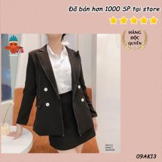Áo blazer khoác vest đen viền chỉ trắng THOCA HOUSE thanh lịch, phù hợp đi làm công sở, sự kiện, đi học, đi chơi