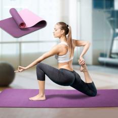 Thảm tập yoga tập gym thể dục cao su non tpe 2 lớp 6mm êm ái chống trơn trượt chống nước cao cấp tặng túi đựng thảm, tham tap yoga bst2581