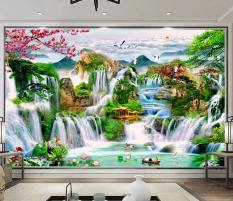 Tranh dán tường 3D Phòng Khách/Sơn Thủy Hưu Tình, 496(Đã tích hợp sẵn keo)