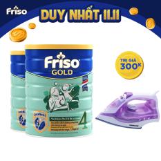 [Tặng Balo đơn 1.5 triệu] Bộ 2 lon sữa bột Friso Gold 4 1.5kg + Bàn ủi Sunhouse trị giá 300k