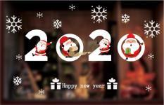 Decal trang trí mùa giáng sinh noel – dán kính tĩnh điện -2020 happy new year chữ trắng