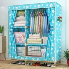 Tủ vải 2 buồng 5 ngăn / 3 buồng 8 ngăn / 4 buồng 8 ngăn treo quần áo khung gỗ họa tiết 3D chống thấm mốc
