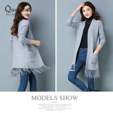 Áo khoác len tua rua áo khoác lông cừu queenbe GLA119