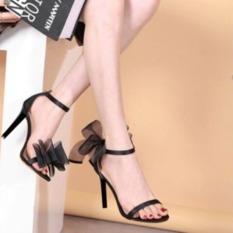 Giày Cao Gót Nhọn 9p Quay Phối Nơ Lưới Cách Điệu LZ008
