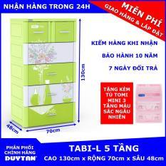 Tủ nhựa Duy Tân TABI-L 5 tầng (Lá bình hoa) tặng Tủ TOMI MINI 3 tầng – chất liệu nhựa PP/ABS, kiểu dáng hiện đại, thiết kế tiện lợi, kích thước 70 x 48 x 130cm
