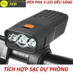 đèn xe đạp siêu sáng-đèn xe đạp 3 mắt led cao cấp tích hợp sạc dự phòng độ sáng 1000lumen chống mưa