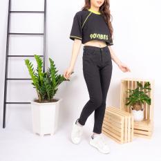 Quần jean nữ Ulzzang GENZ mẫu trơn màu đen lưng cao thời trang ZWJ001