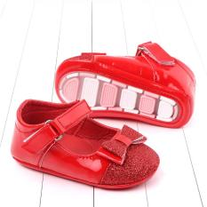 Giày búp bê nơ màu đỏ đế cao su chống trượt cho bé(6-12 tháng)