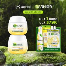 [Đơn 349K tặng túi + 3 quà + giảm 15K] Bộ kem dưỡng & mặt nạ ngủ chiết xuất men vi sinh sữa chua đậu nành trắng da, giảm thâm mụn – Garnier Light Complete 50ml