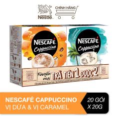 [Mua 1 được 2] Combo Nescafé Cappuccino vị dừa & vị caramel (2 hộp 20 gói x 20g)